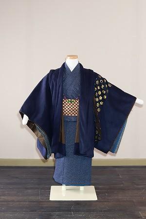 紺笹-アンティーク風着物レンタル