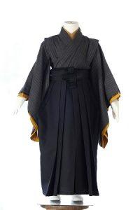 グレー縞織-アンティークな七五三着物