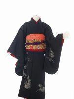 正絹黒萩-アンティークな七五三着物レンタル