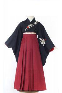 正絹黒椿-アンティークな七五三着物