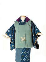 三歳 藍絣-アンティークな七五三着物レンタル